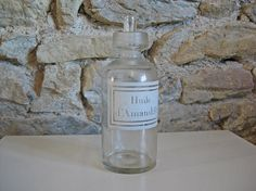 Large French pharmacy bottle for Almond Oil  Huile by Histoires #histoires