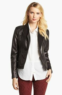 Calvin Klein Leather Moto Jacket available at #Nordstrom