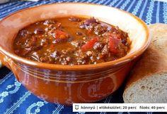 Chili con carne 8zsuzsa8 konyhájából Meat Recipes, Recipies, Healthy Recipes, Healthy Foods, Hungarian Recipes, Hungarian Food, Paleo, Food And Drink, Soup