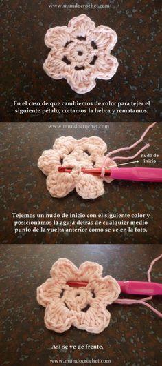 Como tejer una flor en capas a crochet o ganchillo04 Purse Patterns Free, Crochet Purse Patterns, Vintage Crochet Patterns, Crochet Poncho, Crochet Purses, Cute Crochet, Double Crochet Baby Blanket, Crochet Chart, Crochet Flowers