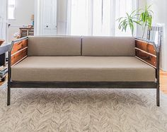 Modern Reclaimed Redwood Daybed or Couch Steel Frame by MezWorks