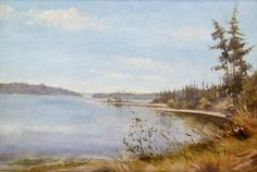 "Lot 247A- Harriet Foster Beecher (1850-1915 Washington) ""Puget Sound"" 1881 Oil on Board 12""x18"" Image. A very early Washington landscape painting. Signed and dated l.r. Comes in ornate carved frame with name plate 17""x22.75"" total size. Braarud Fine Art, La Conner gallery label on verso."