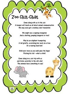 """An original poem about going to the Zoo and listening to the animal's communicate. """"Come along with us to the zooA keeper will teach us all about animal communication We may even get a monkey chat translationWe might see a signing orangutan And a chatting jumping kangaroo or two!May be an elephant trumpetingA tall giraffe, scratching her neck on a tree Or a roaring loud lion! .....etc. """"Fun graphics supplied by mycutegraphics.com Dear Zoo Activities, Animal Poems, Monkey See Monkey Do, Giraffe, Elephant, Animal Communication, All About Animals, Orangutan, Teacher Pay Teachers"""