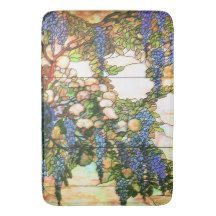 Art Nouveau Wisteria Stained Glass Floral Bath Mat Bath Mats