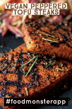 Peppered Tofu Steaks [Vegan] Nobody can resist our delicious, peppery marinated tofu steaks—that's a promise. - Check out this awesome vegan, plant-based, simple recipe on the Food Monster App! And don't forget to pin to your favorite board! Vegan Dinner Recipes, Whole Food Recipes, Vegetarian Recipes, Cooking Recipes, Vegan Grill Recipes, Lunch Recipes, Vegan Steak Recipe, Crockpot Recipes, Cooking Tofu