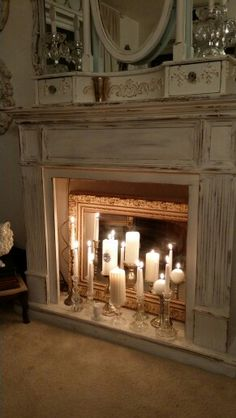 20 Simple Ways to Decorate a Fireplace & Mantle with Flameless Candles - Easy l. - 20 Simple Ways to Decorate a Fireplace & Mantle with Flameless Candles – Easy living room firepl - Candles In Fireplace, Diy Fireplace, Living Room With Fireplace, Fireplace Design, Decorative Fireplace, Antique Fireplace Mantels, Vintage Fireplace, Decorating Ideas For Fireplace, How To Decorate Fireplace