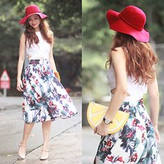 Mayo Wo - Young Hungry Free Poppy Hat, Young Hungry Free Pop Dat Top, Chic Wish Flower De Luce Midi Skirt - Tropical fleur