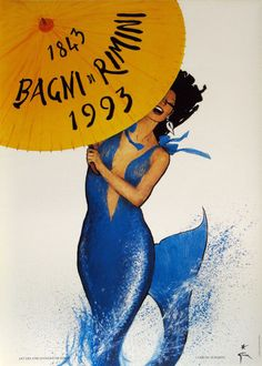 Italy: BAGNI di RIMINI, original Italian travel poster created by artist Rene Gruau. This is a anniversary poster for the beach city of Rimini, Italy and is the last poster that was created by this master artist. Jacques Fath, Retro Poster, Poster Vintage, Vintage Travel Posters, Poster Poster, Pierre Balmain, Marie Claire, Vintage Italian Posters, Rene Gruau
