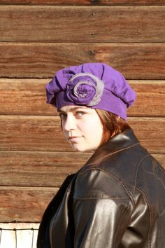 Cute, luxurious hat for chilly weather! Cotton and Cashmere Blend Hat in Purple With Shabby Flower by Geminivintagestore