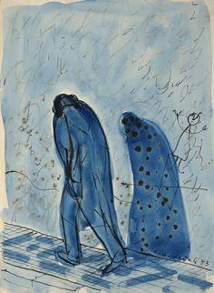František Hudeček: Noční chodec / 1943 / tuš, akvarel, papír / 27 x 20 cm /