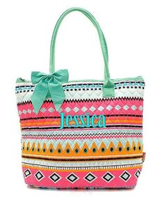 "Personalized Pink Aztec 16"" Quilted Tote Bag Purse - Mint & Pink"