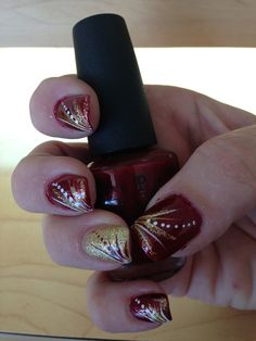 Maroon & Gold Nails #woodruffwolverines