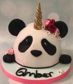 Pandicorn unipanda panda cake with pink flowers birthday celebration