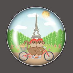 monkey biking around paris