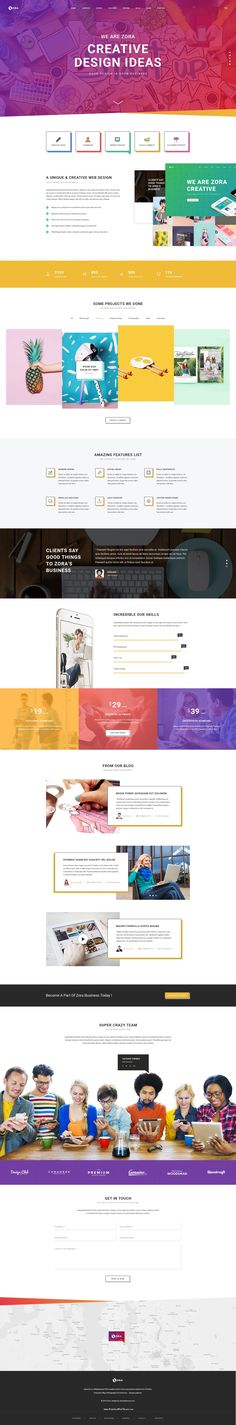 Zora Onepage PSD Template is a Creative Template with 2 color variations for homepage which is suitable for #Website of Business, Corporate, Agency, Company, Corporation, Personal Portfolio, and much more #psdtemplate