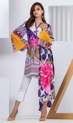 Exclusive range of printed and embroidered unstitched & ready to wear clothes. Shop from 3 Piece, 2 Piece & kurti collection and pair with fashion accessories. Beautiful Pakistani Dresses, Pakistani Dresses Casual, Pakistani Dress Design, Casual Dresses, Fashion Dresses, Stylish Dresses For Girls, Girls Dresses, Summer Dresses, Designs Kurta