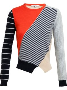 CARVEN Contrasting Patterned Wool-Angora Jumper
