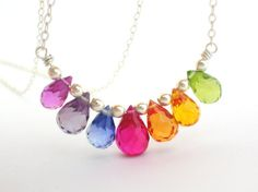 Bright Rainbow Briolette Necklace sterling silver by bluebirdss, $45.00