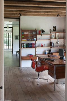 Vintage shelving makes storage more interesting in this home office #bespoke #designer #storage #interiordesign #storageideas