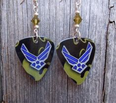 Air Force Ensignia Camo Guitar Pick Earrings with Green Swarovski Crys – SimplyRaevyn Navy Insignia, Military Jewelry, Guitar Pick Jewelry, Stocking Stuffers, Clip On Earrings, My Ebay, Air Force, Swarovski Crystals, Sterling Silver
