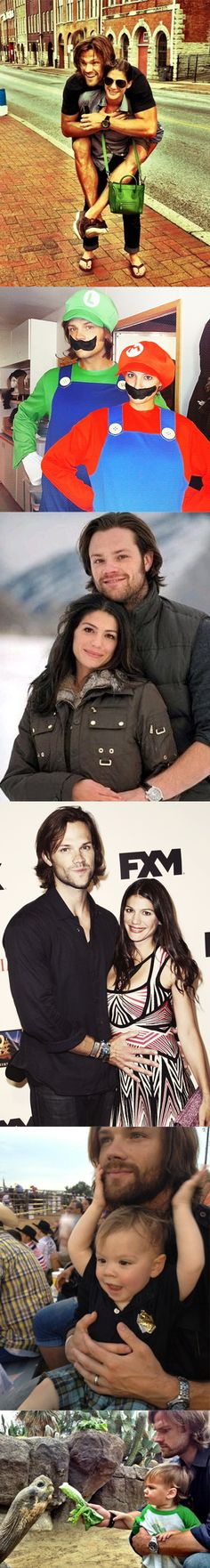 This is Jared Padalecki, his gorgeous wife Genevieve, and their son Thomas. Cutest family ever!