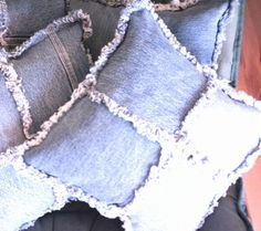 Old Worn Denim Jeans...recycled into cool pillows!!  Instructions included.  Love this idea!