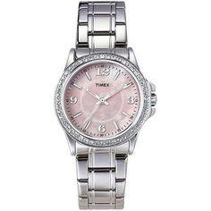 Timex Women's Swarovski Crystal Dress Fashion Quartz Watch Silver Band Pink Face -- For more information, visit image link.