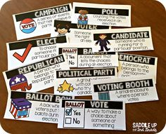 Election Day is the perfect time to teach your class all about voting. This mini unit features everything you need to hold a mock election in your classroom. It also features comprehension activities, vocabulary practice, writing prompts and so much more. 6th Grade Ela, 6th Grade Social Studies, Social Studies Resources, Second Grade, Vocabulary Practice, Vocabulary Cards, Comprehension Activities, Teaching Activities, Teaching Resources