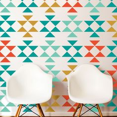 24pcs vintage Tribal Triangle Pattern vinyl decal,Mid Century triangles Wall sticker for Homes,Remodelers,Interior DIY decor