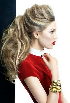 Big hair looks new, again. Curly Hair Ponytail, Ponytail Hairstyles, Hairstyles Haircuts, Hair Dos, Pretty Hairstyles, Messy Hairstyle, Ponytail Bun, Pompadour Hairstyle, Homecoming Hairstyles