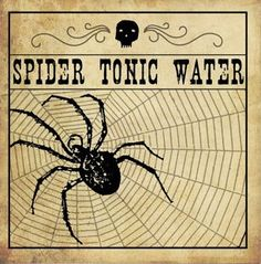 Shop Spider Tonic Water Halloween Sticker created by shabnamahsandesigns. Halloween Apothecary Jars, Halloween Bottle Labels, Halloween Potions, Halloween Books, Halloween Images, Holidays Halloween, Vintage Halloween, Happy Halloween, Halloween Miniatures