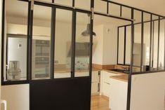 Verrière de cuisine avec porte coulissante - Verrières d'intérieur - Ghislain Antiques