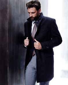 stand-collar wool overcoat in charcoal