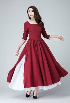 burgundy dress,Red Linen Dress, long sleeve dress, Spring Dress, Prom Dress,square neck dress,slit dress, long maxi dress, custom dress 1473