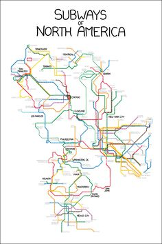 The latest xkcd comic features a detailed map of all the subways in North America. According to the comic, about one in three subway stops in North America is in New York City. Here's a larger version of the map. Metro Mexico, Chicago To San Francisco, Doodle, Metro Map, Subway Map, Metro Subway, Map Globe, U Bahn, Fantasy Map