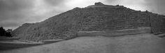 Panorama of Huaca Pucllana in b/w *  A panoramic photo I took of the pre-Inca ruins Huaca Pucllana located in Miraflores Lima, Peru