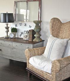 Wicker wing-back armchair