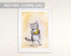 Tabby grey cat nursery wall art digital file Watercolor furry kitten Baby cat toy painting download print Jpg printable instant download