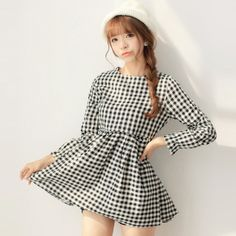 Free Shipping Cute O-neck Plaid Cotton Full Length Sleeves A-line Pullover Short Mini Fall Girl Render Dress One-piece Dress $22.80