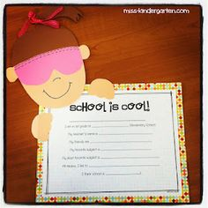 Fun end of the year activity-  Let them fill this out and then write why school is cool.