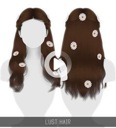 LUST HAIR 36 swatches; Flowers (Optional) found in the Hat Category with 12 swatches; HQ mod compatible; Custom Shadow Map; Smooth weighting; Works with ha… A Line Long Bob, Long Bob Cuts, Cute Hairstyles, Sims 4, Silver Color, Color Inspiration, My Hair, Lust, Swatch
