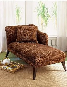 chaise in animal print Furnishings, Animal Print Bedding, Print Bedding, Animal Print Decor, Chaise, Chaise Lounge, Home Decor, Furniture, Beautiful Furniture