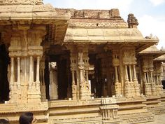 Musical pillars of the dance hall in Vithala temple complex, Hampi