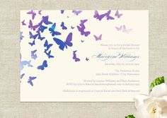 Beautiful butterfly themed wedding invitations with hand finished