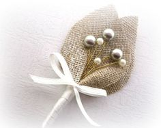 Gray Swarovski Beaded Baby's Breath, Beige Burlap Wedding Men Accessories Boutonniere, Pin, Linen, Groomsman, Country Weddings, Shabby Chic on Etsy, $9.00