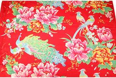 Chinese Red Floral Textile - One Kings Lane - Vintage & Market Finds - Textiles