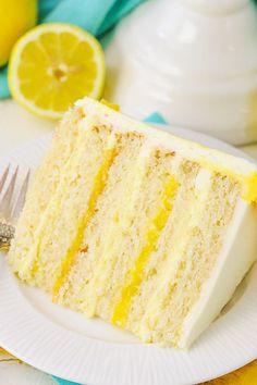 This easy lemon cake recipe makes a moist cake with alternating layers of lemon bavarian cream, and lemon curd filling with lemon buttercream! # lemon cake Easy Lemon Cake Recipe with Lemon Bavarian Cream Food Cakes, Cupcake Cakes, Cupcakes, Cake Cookies, Gourmet Cakes, Lemon Desserts, Lemon Recipes, Dessert Recipes, Lemon Cakes