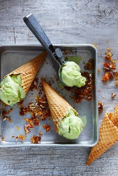 pandan ice-cream with toffee pecans in a waffle cone