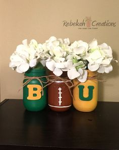 Baylor Mason Jars Baylor University Mason Jars by RebekahCreations