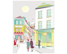 Paris Art Print Montmartre French Wall Art Illustration Cafe